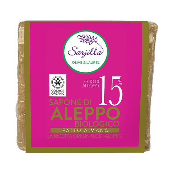 SARJILLA, SAPONE DI ALEPPO 15% CUBO BIO 200 GR