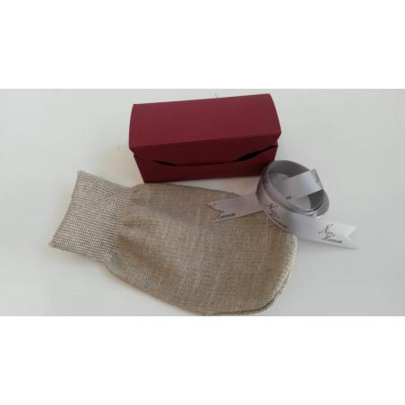 """CARONE - Guanto di lino esfoliante """"NOIRE di HAMMAM"""" in confezione regalo"""
